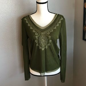 Tribal Green Mesh Top